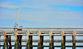 Empty old wooden pier at the nord sea in ostend belgium Royalty Free Stock Photography