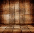 Empty old wooden room with parquet floor Stock Photography