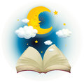 An empty open book with a sleeping moon illustration of on white background Stock Image