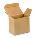 Empty open brown cardboard box white Stock Photos