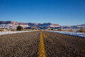 Empty open road in Winter Stock Photography
