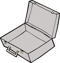 Empty open suitcase cartoon over white background Royalty Free Stock Photo
