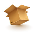 Empty opened cardboard box on transparent white background eps vector illustration Stock Photos