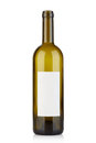 Empty opened wine bottle with blank label on white Royalty Free Stock Photo
