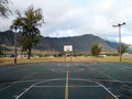 Empty outdoor basketball court in waimanalo old rusty with lights on wooden poles and pine needles on the during the day with Stock Photos