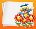 An empty paper with a clown and pots of flowers illustration Stock Images