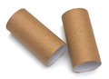 Empty paper roll of bathroom on white background Royalty Free Stock Photo