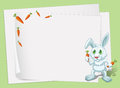 Empty papers with a bunny and carrots illustration of the Stock Photo