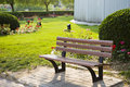 Empty park bench Royalty Free Stock Photo
