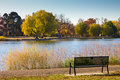 Empty park bench by a lake in fall denver with trees washington colorado Stock Photos