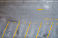 Empty parking lot with yellow lines Stock Photography