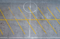 Empty parking lot with yellow lines Royalty Free Stock Images