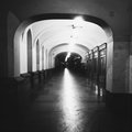 Empty passage at night bw photo Royalty Free Stock Image