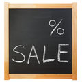 Empty percent sale title written with a chalk on the blackboard Stock Images