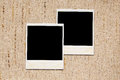 Empty photo frames on linen texture old Royalty Free Stock Photos