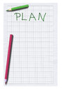 Empty plan and two pencils isolated on white background Royalty Free Stock Image