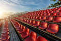 Empty plastic chairs at temporary grandstand stadium in phuket Royalty Free Stock Photography