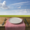 Empty plate with fork and knife Royalty Free Stock Photos