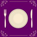 Empty plate with fork and knife on decorative background space for text Stock Photos