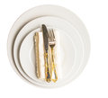 Empty plate fork knife napkin xi with and on white background Stock Photography