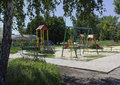 Empty playground in the midday heat ukraine makeevka Royalty Free Stock Photo