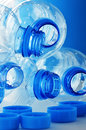 Empty polycarbonate plastic bottles  Stock Images