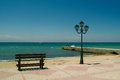 Empty port dock at the start of the tourist season in greece Stock Photo