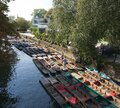 Empty punts floating on the River Cherwell in Oxford, Oxfordshire in the United Kingdom Royalty Free Stock Photo