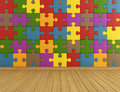 Empty puzzle room toys with colorful on wall and wooden floor rendering Royalty Free Stock Photography