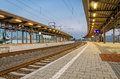 Empty railway station an in evening Royalty Free Stock Photos