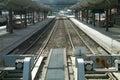 Empty railway tracks Royalty Free Stock Photo