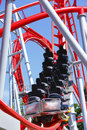 Empty Red Roller Coaster