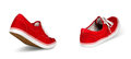 Empty red shoes walking concept