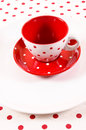 Empty red and white cup Stock Image
