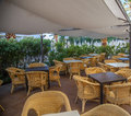 Empty resturant with tables and chairs Royalty Free Stock Image