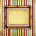 Empty Retro picture frame on old wall Stock Photography