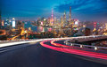 Empty road floor with bird-eye view at Shanghai bund Skyline Royalty Free Stock Photo