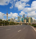 Empty road with Shanghai Lujiazui city buildings Royalty Free Stock Photo