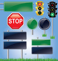 Empty road sign and traffic light set Stock Image
