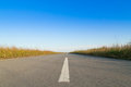 Empty road on sun with blue sky Royalty Free Stock Photo