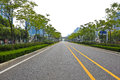Empty road surface with modern city buildings background straight line Royalty Free Stock Photo
