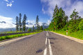 Empty road in tatra mountains poland Stock Image