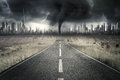 Empty road with thunderstorm at sky Royalty Free Stock Photo