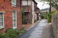 Empty road in a traditional english village Royalty Free Stock Photo