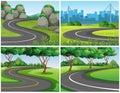 Empty roads through park and city