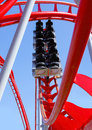 Empty roller coaster red ride could be used to add your own people objects or animals Stock Image