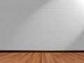 Empty room background and wooden floor brick wall Royalty Free Stock Photo