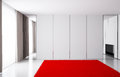 The empty room in bright colors, in which there are curtains, mirror and carpet. Royalty Free Stock Photo