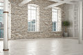Empty room of business,or residence with brick interior Royalty Free Stock Photo