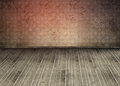 Empty room with dirty floorboards and outmoded wallpaper Stock Photography